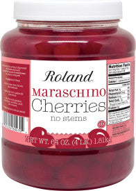 Roland Maraschino Cherries No Stem, 64 oz (Pack of 6)