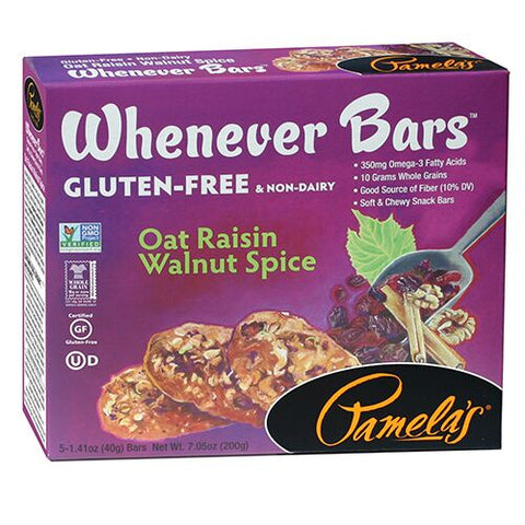 Pamelas Oat Raisin Walnut Spice Whenever Bars, 7.05 Oz (Pack of 6)