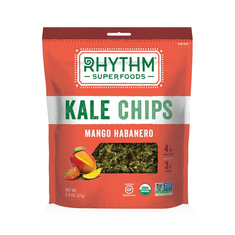Rhythm Superfoods Mango Haberno Kale Chips, 2 OZ (Pack of 12)