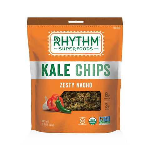 Rhythm Superfoods Zesty Nacho Kale Chips, 2 OZ (Pack of 12)