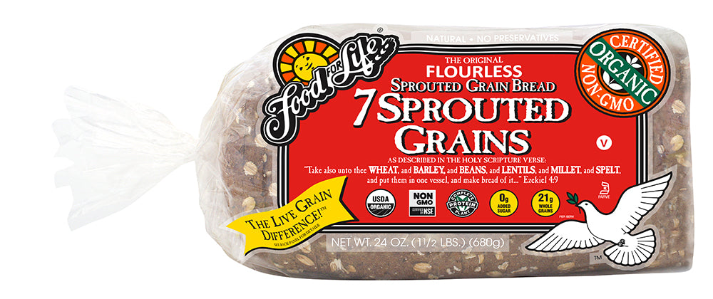 Food For Life Organic 7-Sprouted Whole Grain Bread, 24 Oz (Pack of 6)