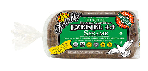 Food For Life Organic Ezekiel 4:9 Sprouted Whole Grain Sesame Bread, 24 Oz (Pack of 6)