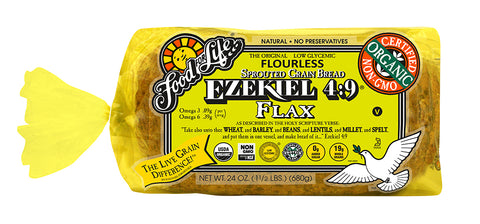 Food For Life Organic Ezekiel 4:9 Sprouted Whole Grain Flax Bread, 24 Oz (Pack of 6)