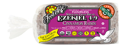 Food For Life Organic Ezekiel 4:9 Cinnamon Raisin Sprouted Whole Grain Bread, 24 Oz (Pack of 6)