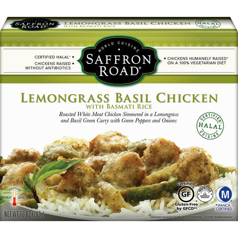 Saffron Road Lemongrass Basil Chicken with Basmati Rice, 11 Oz (Pack of 8)
