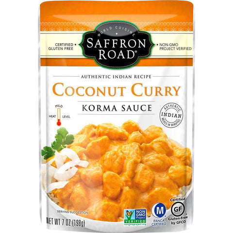 SAFFRON ROAD COCONUT CURRY KORMA SAUCE, 7 OZ (Pack of 8)