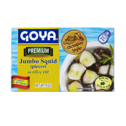 Goya Premium Jumbo Squid in Olive Oil Octopus Style, 4 OZ (Pack of 25)