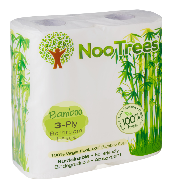 Nootrees 100% Bamboo Toilet Tissue 3 Ply, 4 Rolls, 300 Sheets Per Roll, (Pack of 12)