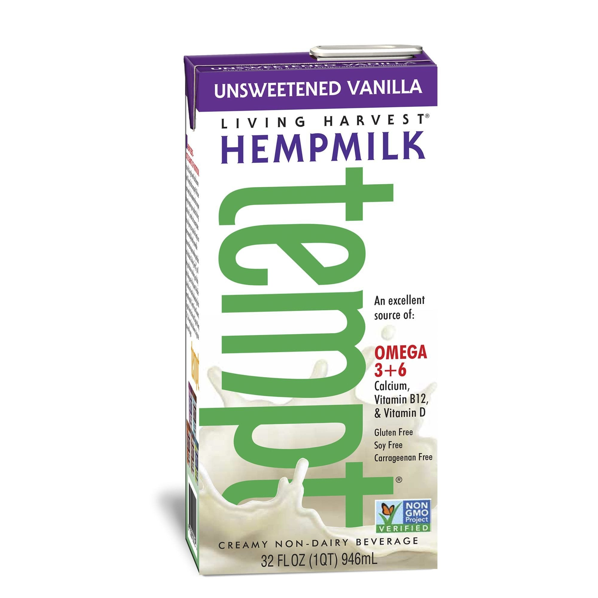 Living Harvest Hempmilk Unsweetened Vanilla Flavor, 32 Oz (Pack of 12)