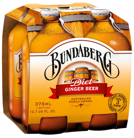 Bundaberg Diet Ginger Beer, 375 Ml (Pack of 6)