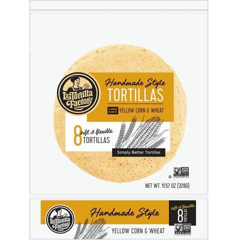 La Tortilla Factory Non-GMO Hand Made Style Tortillas, Yellow Corn & Wheat, 8 Ea (Pack of 12)