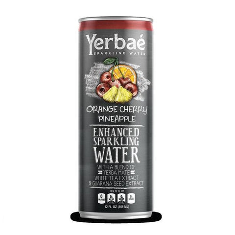 Yerbae' Enhanced Sparkling Water Orange Cherry Pineapple, 12 Oz. Cans (Pack of 12)