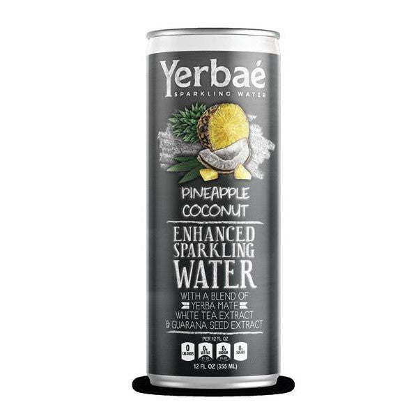 Yerbae' Enhanced Sparkling Water Pineapple Coconut, 12 Oz. Cans (Pack of 12)