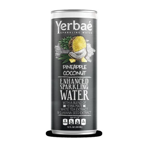 Yerbae' Enhanced Sparkling Water Pineapple Coconut, 12 Oz. Cans (Pack of 9)