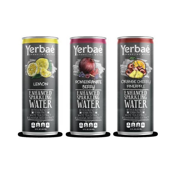 Yerbaé 3 Flavor Variety Pack, Lemon, Pomegranate-Berry, Orange-Cherry-Pineapple,12 Oz. Cans (Pack of 9)