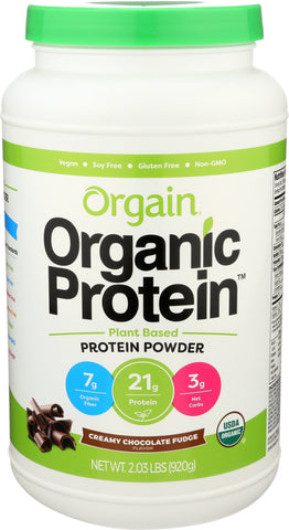 Orgain Creamy Chocolate Fudge Plant Based Protein Powder, 2.03 Lb (Pack of 3)