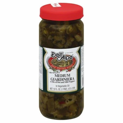 Dell Alpe Giardiniera Medium in Vegetable Oil, 16 OZ (Pack of 12)