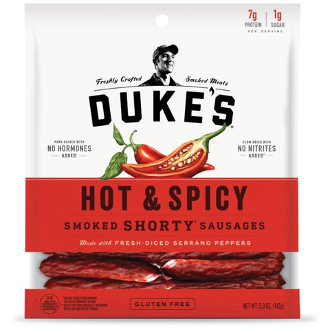 Duke's Hot & Spicy Smoked Shorty Sausages, 5 OZ (Pack of 8)