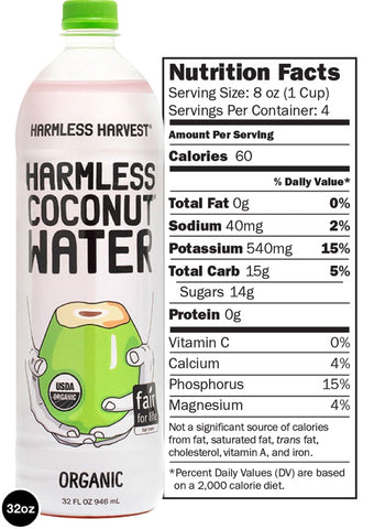 Harmless Harvest 100% Raw Coconut Water, 32 Fo (Pack of 6)