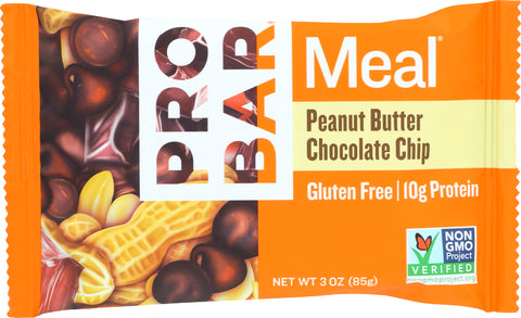 Probar Peanut Butter Chocolate Chip Meal Replacement Bar, 3 OZ (Pack of 12)