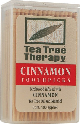 Tea Tree Therapy Cinnamon Toothpicks, 100 Count (Pack of 12)