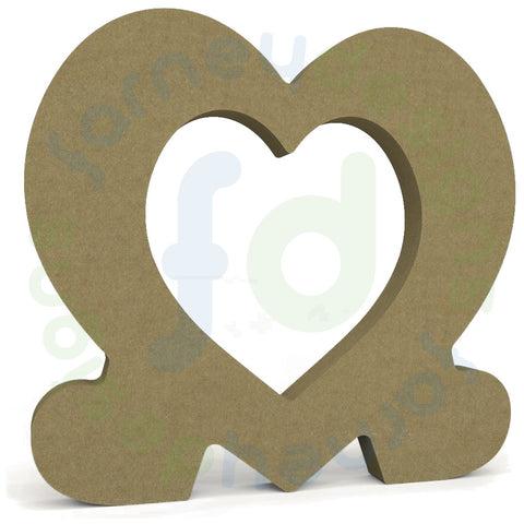 Heart Frame Supported by Two Small Hearts in 18mm MDF - Thick Frame ...