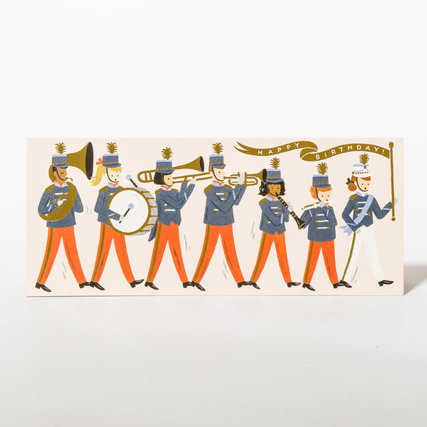 Marching Band Birthday Geburtstagskarte mit Musikanten-Truppe von Rifle Paper Co.