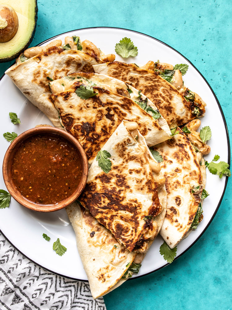 Load image into Gallery viewer, Creamy White Bean and Spinach Quesadillas