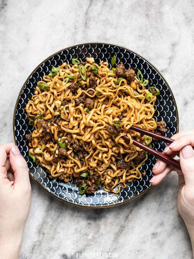 Load image into Gallery viewer, pork and peanut dragon noodles