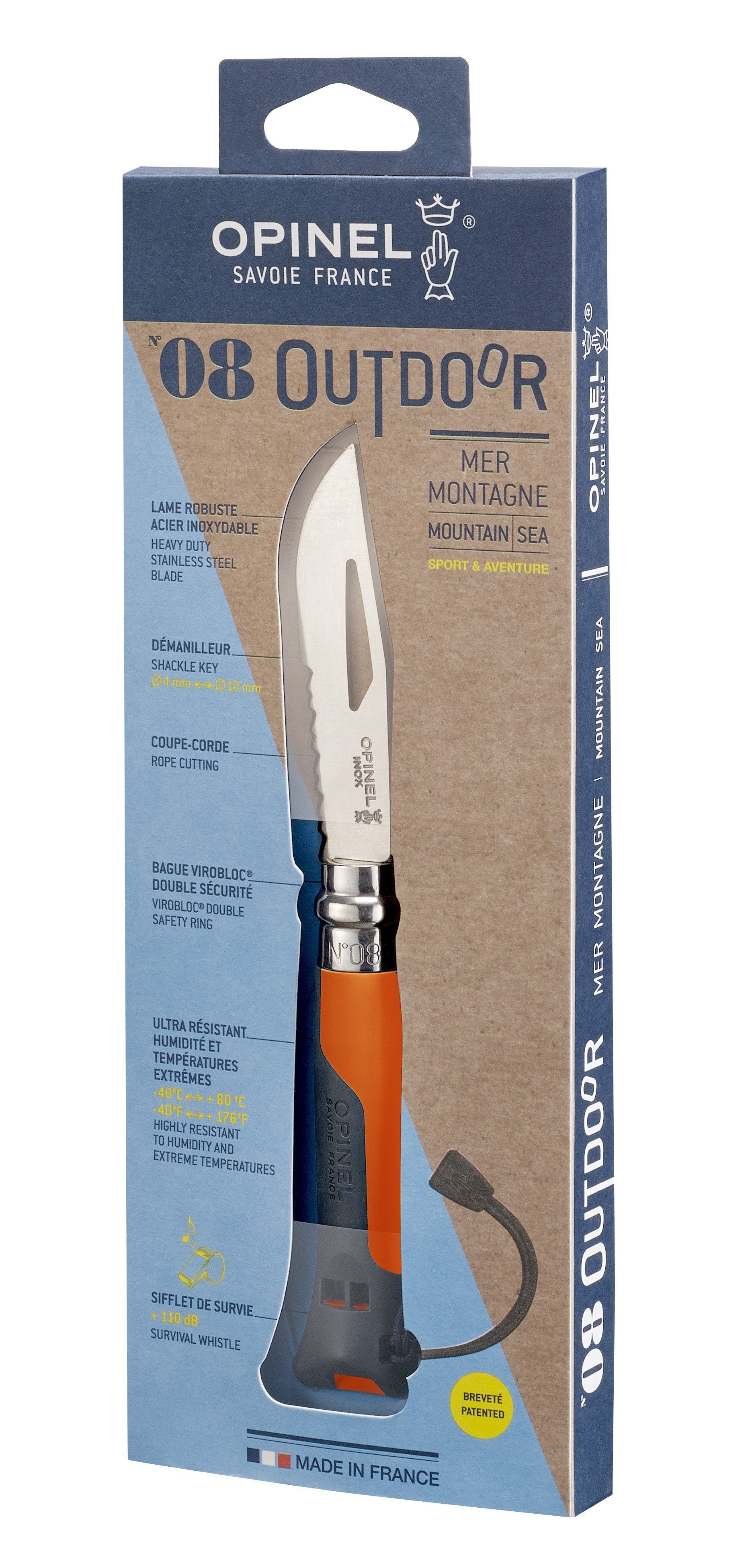 Opinel N'08 Outdoor foldekniv, orange