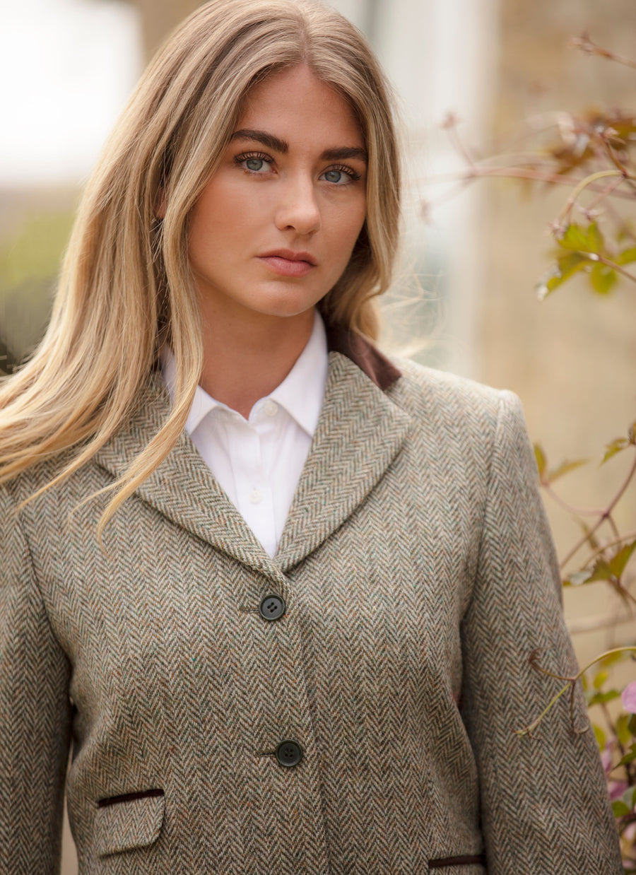 Sarah Jacket Harris Tweed, grågrøn herringbone