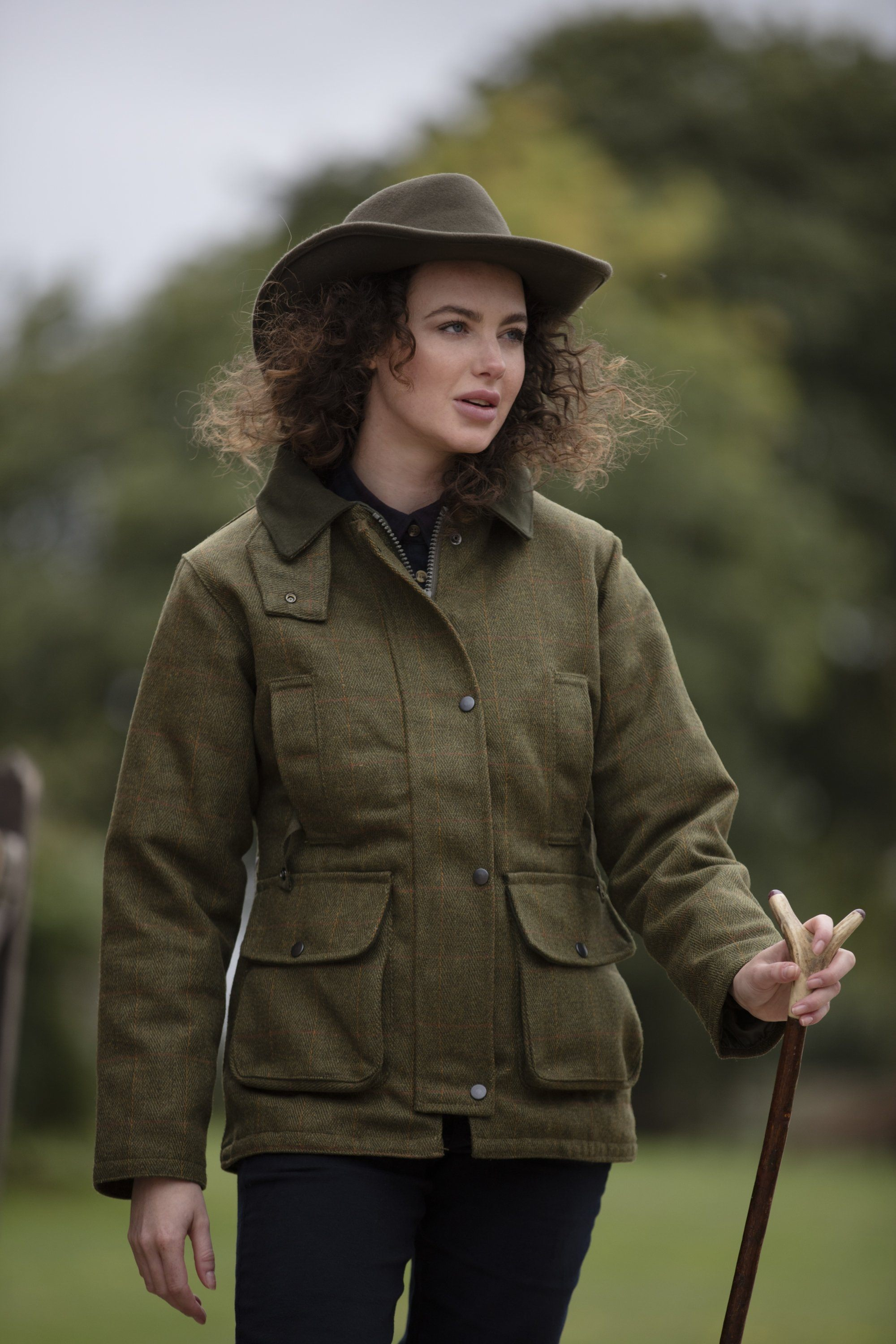 Image of   Tweed Country Ladies Jacket, mørk grøn