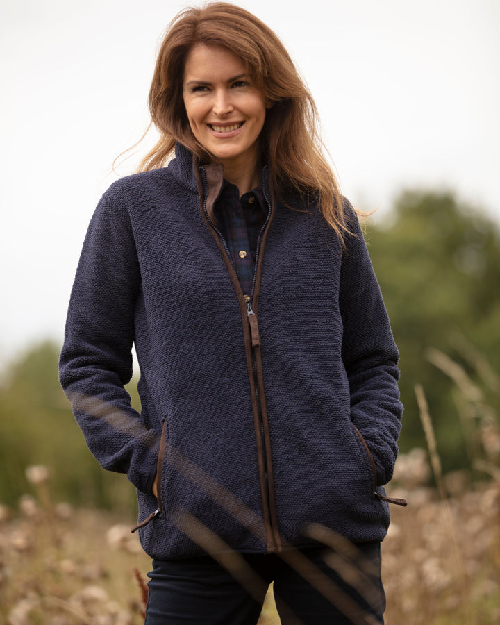 Sussex Ladies Tufted Fleece Jacket, marineblå