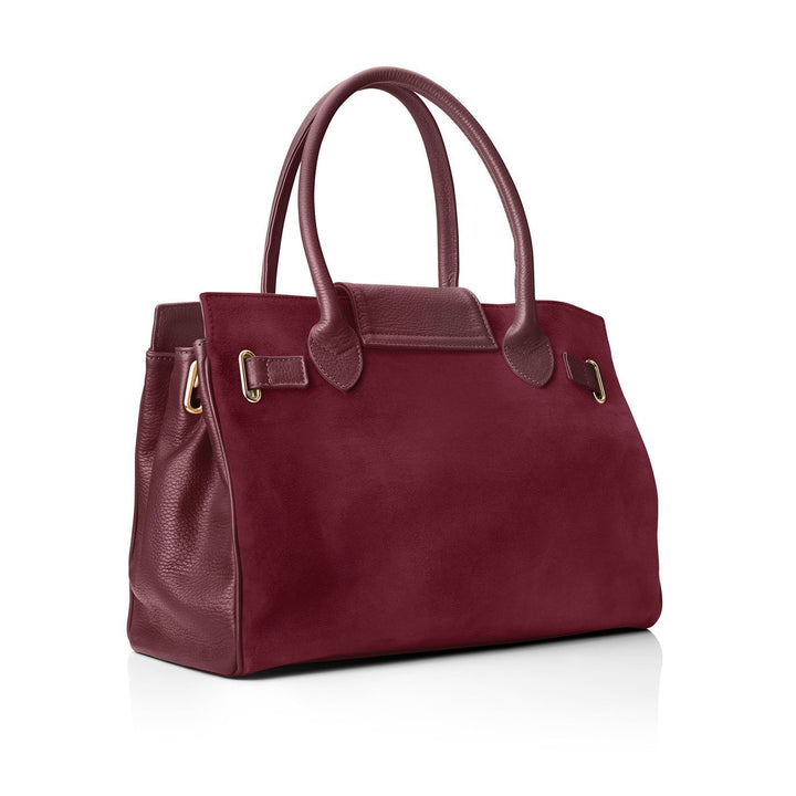 Windsor Leather & Suede Handbag, oxblood