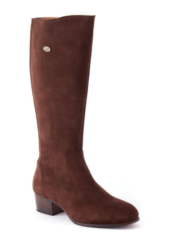 Downpatrick Ladies Knee-high støvle ruskind, Cigar mørkebrun