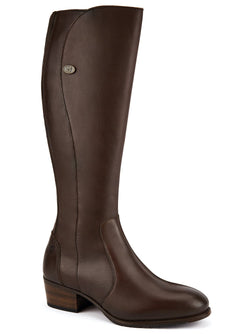 Downpatrick Ladies Knee-high læderstøvle, Old Rum brun
