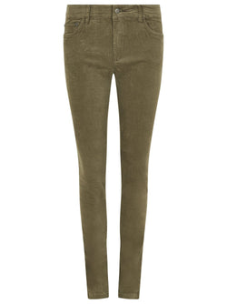 Honeysuckle Ladies Stretch Pincord Jeans, Dusky Green