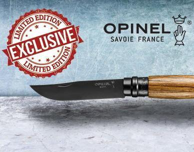 Opinel N'08 foldekniv, BLACK OAK LIMITED EDITION, egetræ, sort rustfri stål