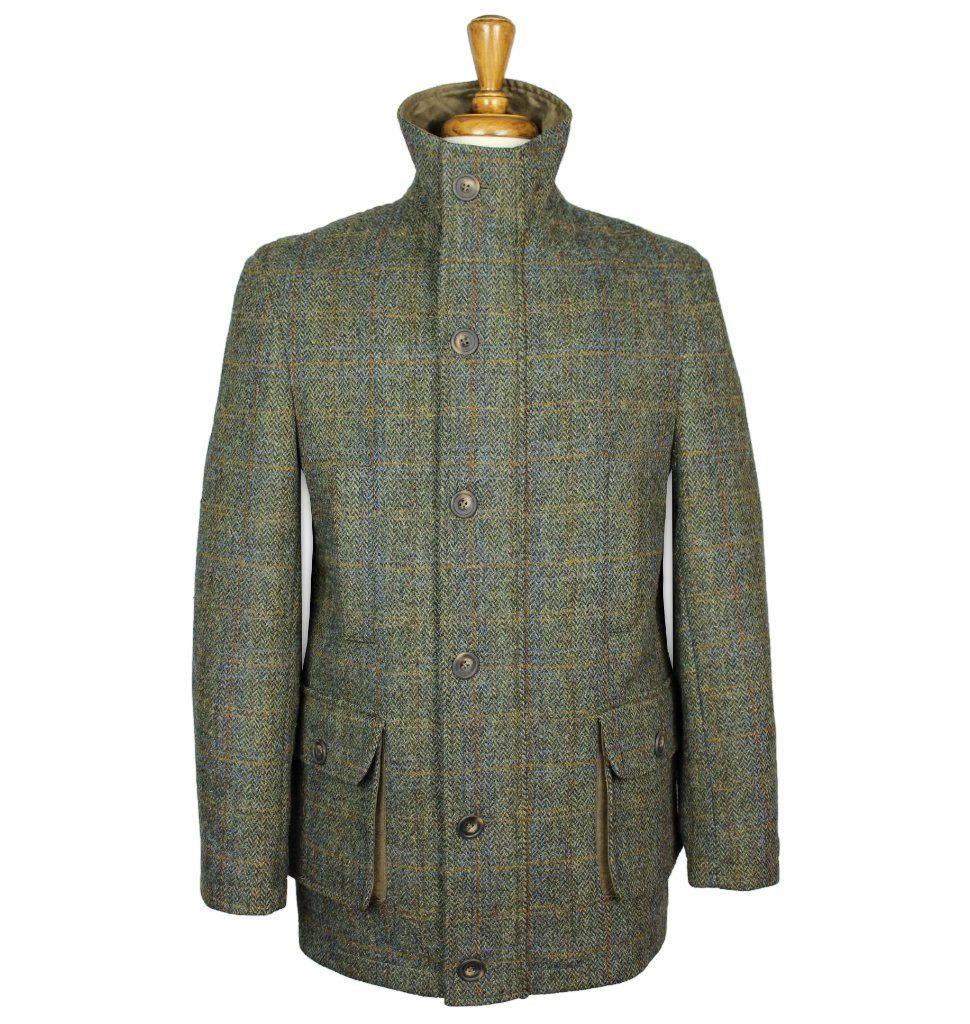Image of   Boyd Field Coat Harris Tweed, green herringbone