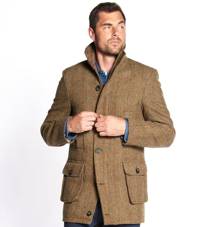 Boyd Field Coat Harris Tweed, mustard herringbone