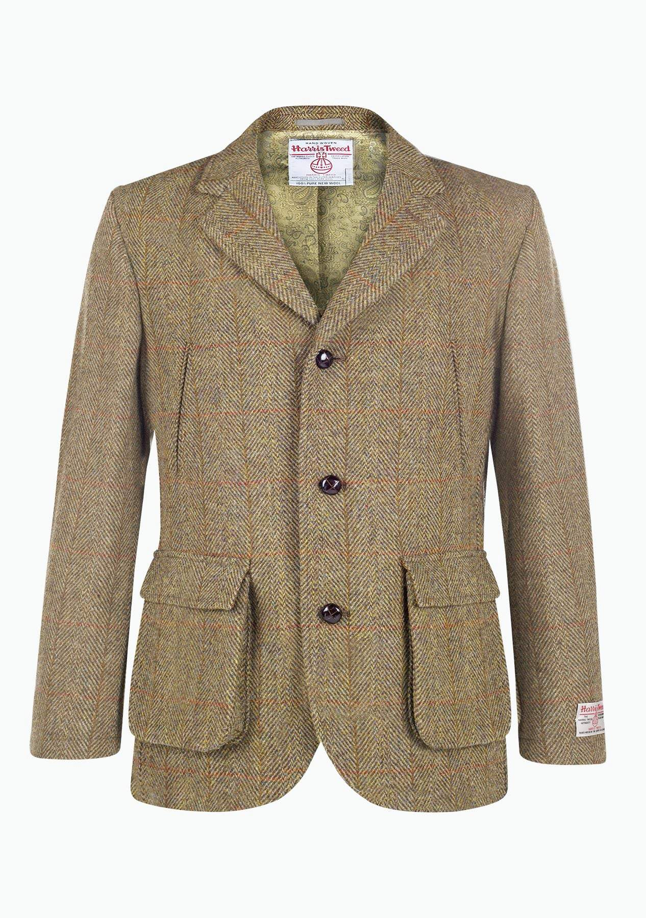 Image of   Callum Utility Jacket Harris Tweed, mustard herringbone