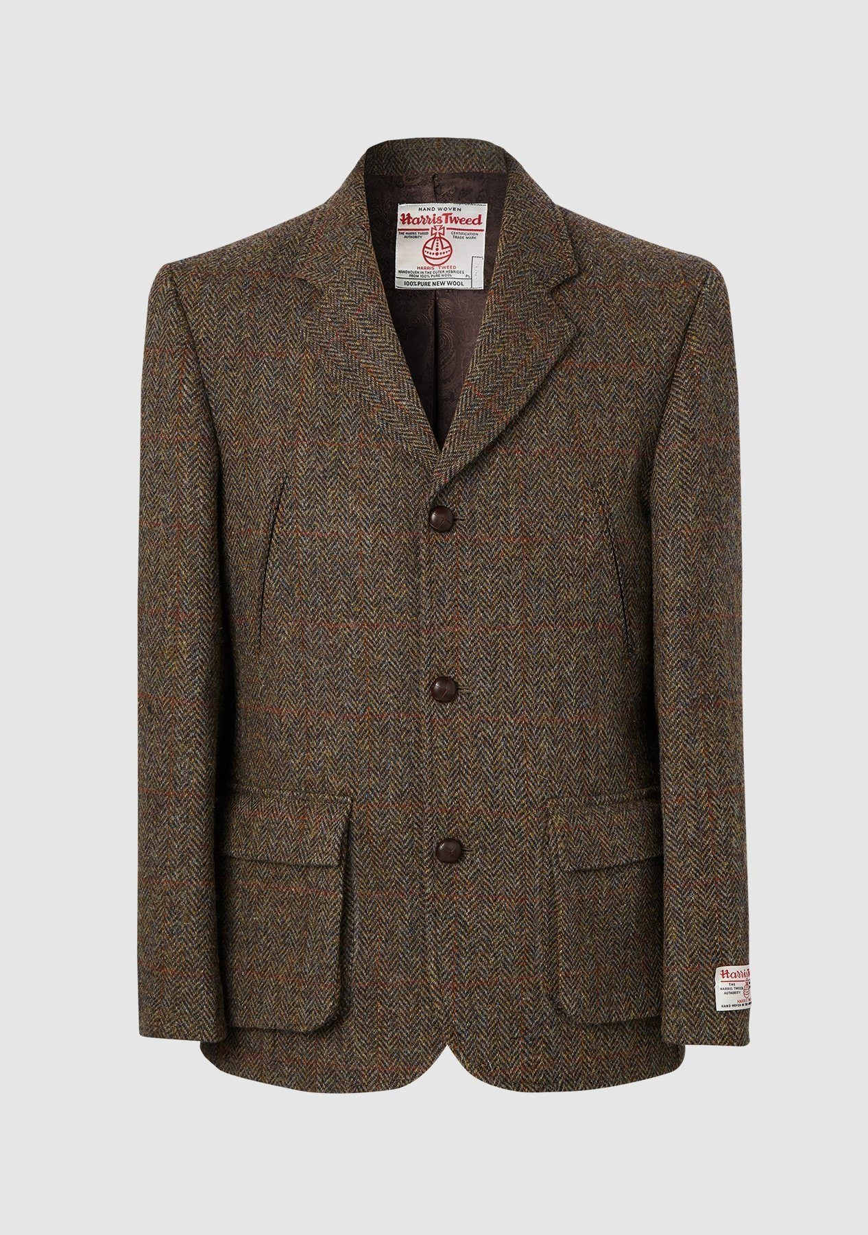 Callum Utility Jacket Harris Tweed, brown herringbone