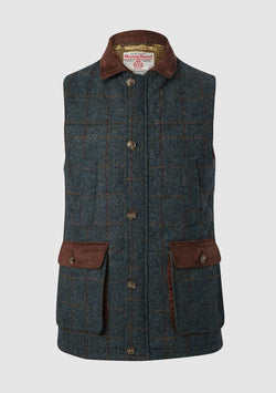 Chuck Gilet vest, Harris Tweed, blue multi