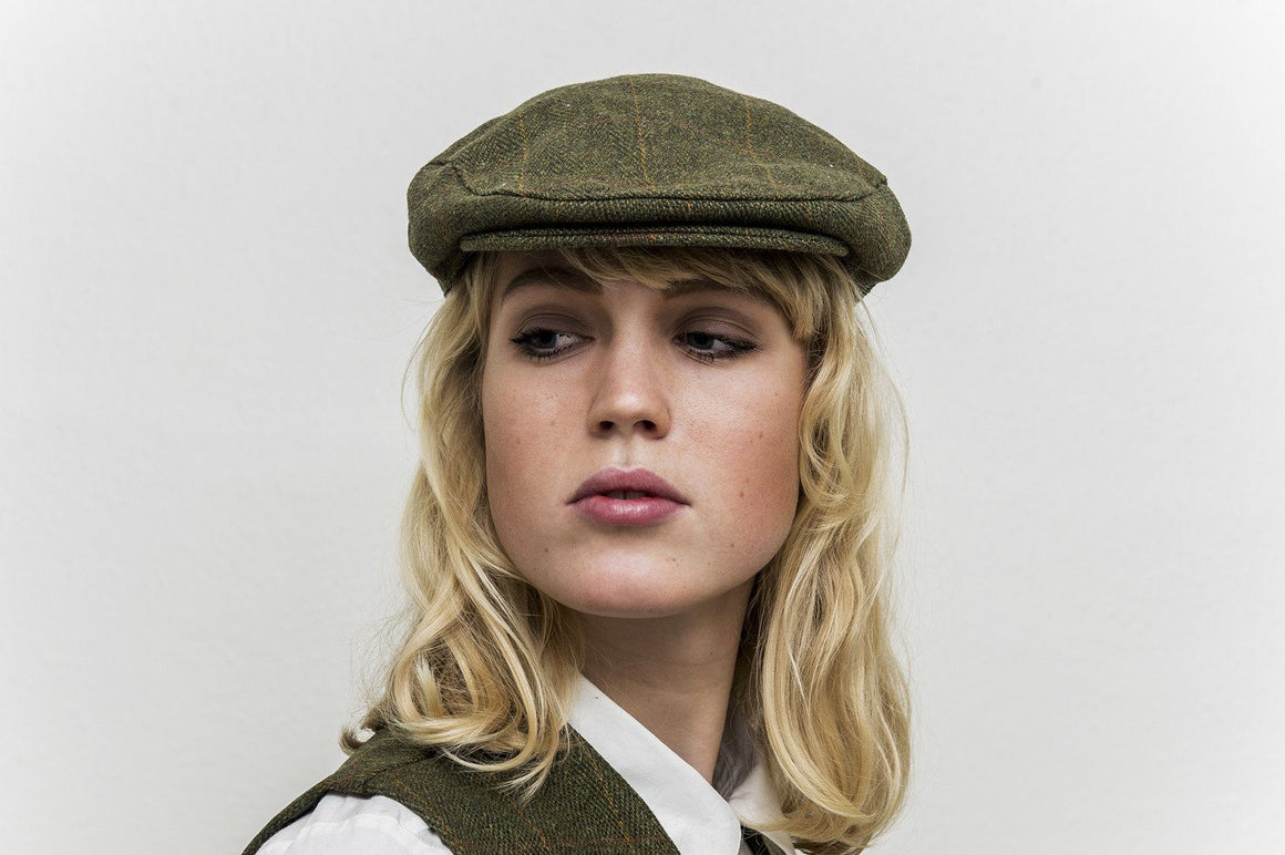 Tweed Country sixpence hat, mørk grøn