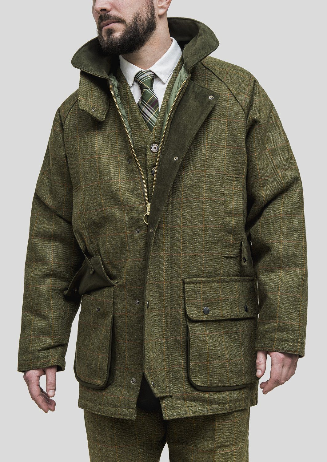 Image of   Tweed Country Jacket, mørk grøn