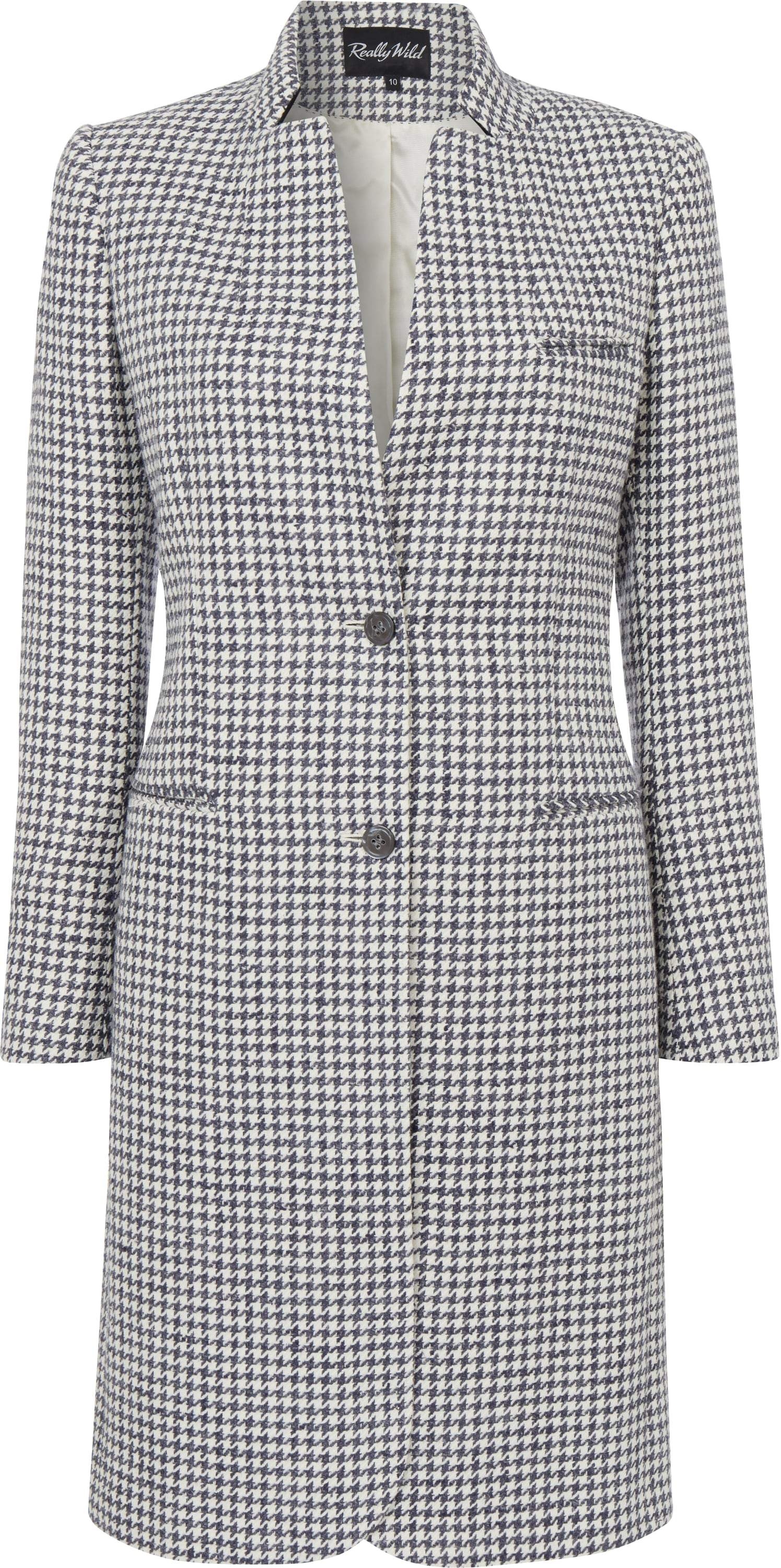 Image of   Harrington Tweed coat, Denim Ivory Dogtooth