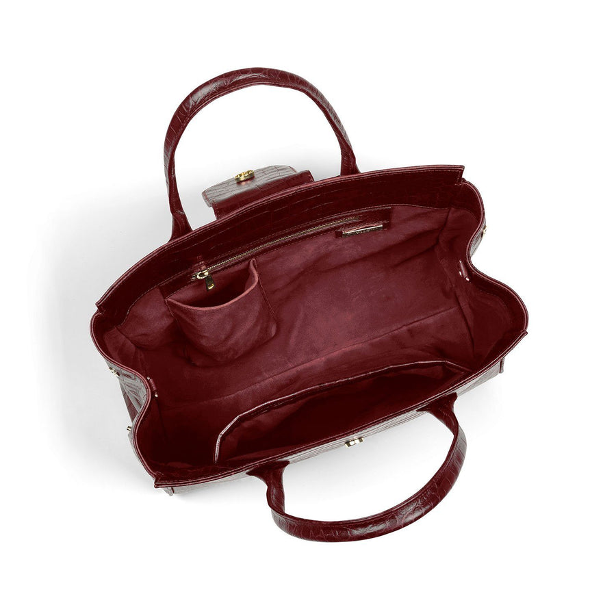 Langley Leather Handbag, oxblood croc print