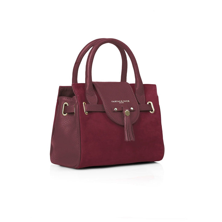 Mini Windsor Leather & Suede Handbag, oxblood