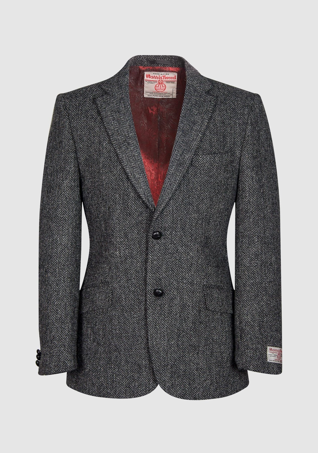 Image of   Patrick Jacket Harris Tweed, charcoal herringbone