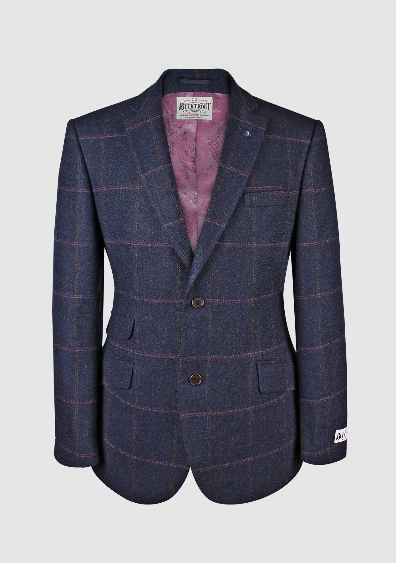Image of   Patrick Jacket Yorkshire Tweed, navy/pink herringbone